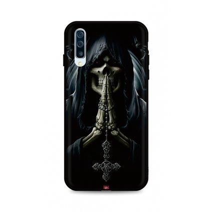 Zadný silikónový kryt DARK na Samsung A50 Grim Reaper