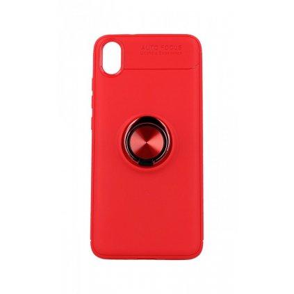 Zadný silikónový kryt na Xiaomi Redmi 7A červený s červeným prsteňom