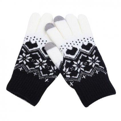 Dotykové rukavice pre mobilný telefón Hearts čierne veľ. M