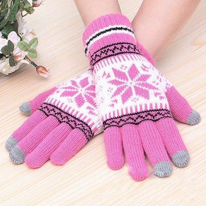 Dotykové rukavice pre mobilný telefón Snowflake ružové veľ. M