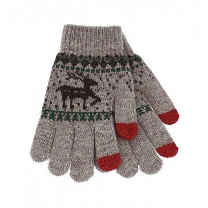 Dotykové rukavice pre mobilný telefón Sob béžové veľ. M
