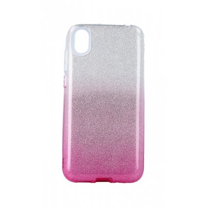 Zadný pevný kryt Forcell na Huawei Y5 2019 glitter strieborno-ružový