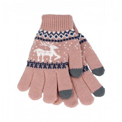 Dotykové rukavice pre mobilný telefón Sob svetlo ružové veľ. M