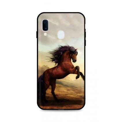 Zadný silikónový kryt DARK na Samsung A20e Brown Horse