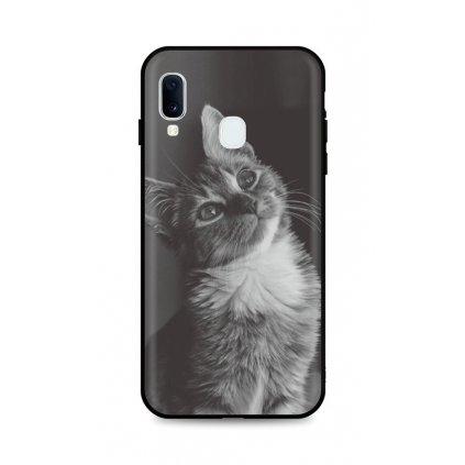 Zadný silikónový kryt DARK na Samsung A20e Cute Cat