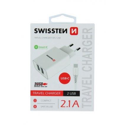 Nabíjačka Swissten USB-C (Type-C) Dual Smart IC 2.1A biela