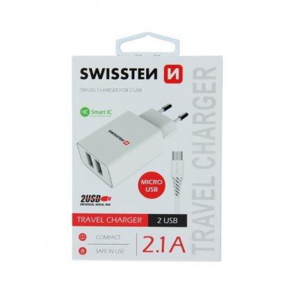 Nabíjačka Swissten microUSB Dual Smart IC 2.1A biela