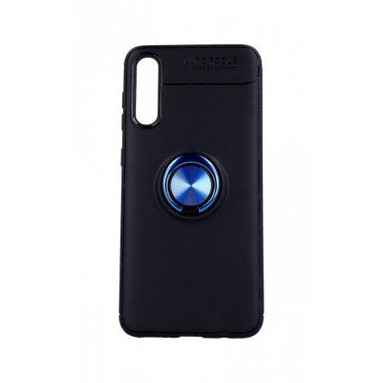 Zadný silikónový kryt na Samsung A30s čierny s modrým prsteňom