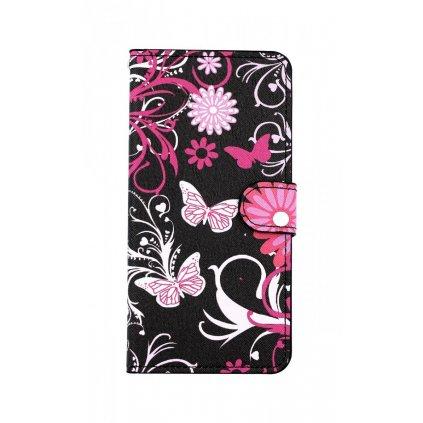 Flipové púzdro na Samsung A50 Čierne s motýlikmi