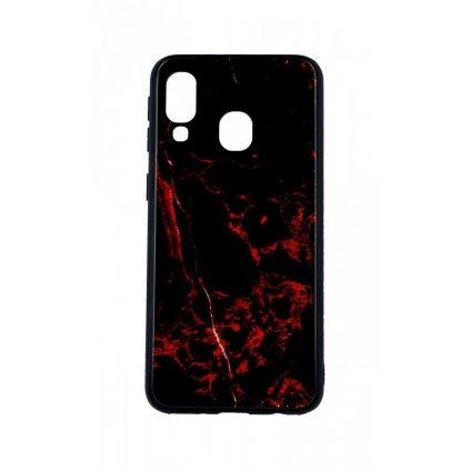 Zadný pevný kryt LUXURY na Samsung A40 Marble Red