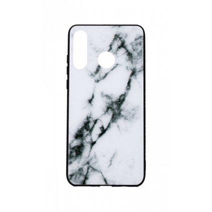 Zadný pevný kryt LUXURY na Huawei P30 Lite Marble White