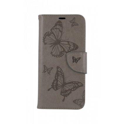 Flipové púzdro na Huawei P30 Lite Butterfly šedé
