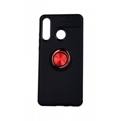 Zadný silikónový kryt na Huawei P30 Lite čierny s červeným prsteňom