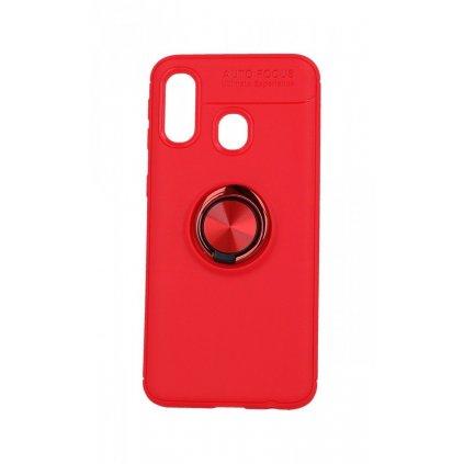 Zadný silikónový kryt na Samsung A40 červený s červeným prsteňom