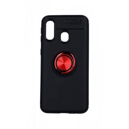 Zadný silikónový kryt na Samsung A40 čierny s červeným prsteňom