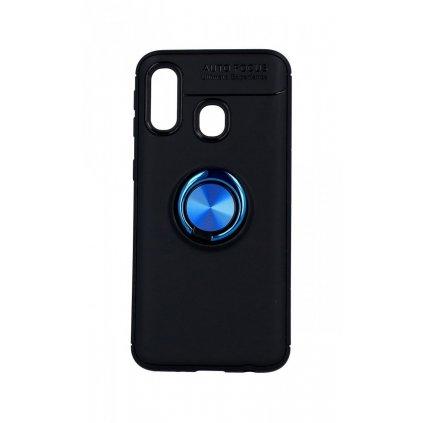 Zadný silikónový kryt na Samsung A40 čierny s modrým prsteňom