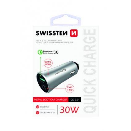 Rýchlonabíjačka do auta Swissten 30W Dual strieborná