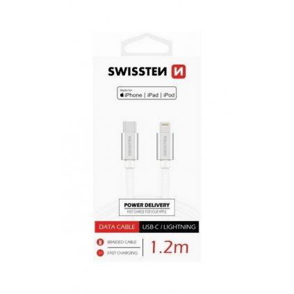 Dátový kábel Swissten USB-C / Lightning PFI 1,2m strieborný