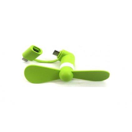 Mini vetráčik Micro USB / Lightning zelený