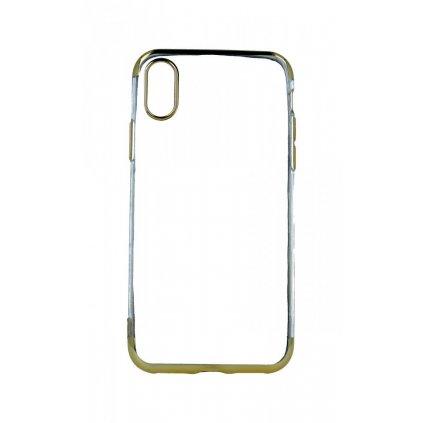 Zadný silikónový kryt na iPhone XS Frame zlatý