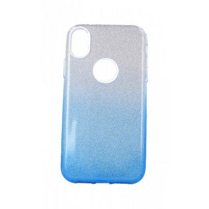 Zadný pevný kryt na iPhone XR glitter strieborno-modrý