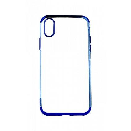 Zadný silikónový kryt na iPhone XS Frame modrý