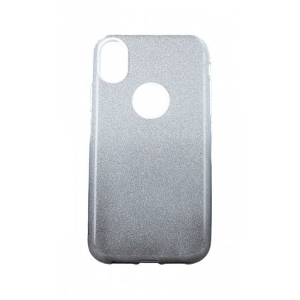 Zadný pevný kryt na iPhone XR glitter strieborno-čierny