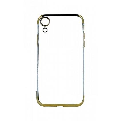 Zadný silikónový kryt na iPhone XR Frame zlatý