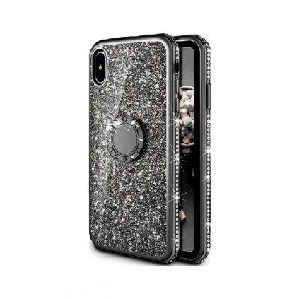 Zadný silikónový kryt na iPhone XS Diamond čierny