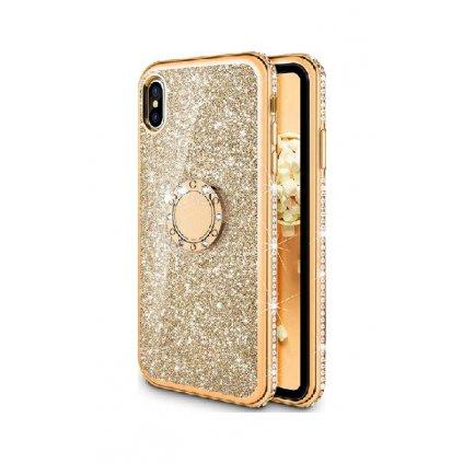 Zadný silikónový kryt na iPhone XS Diamond zlatý
