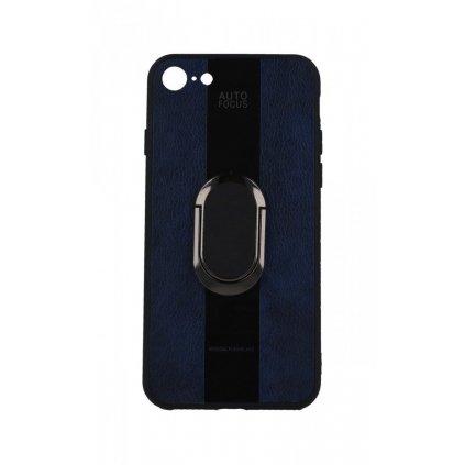 Zadný silikónový kryt Auto Focus na iPhone 8 modrý s prsteňom