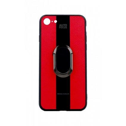Zadný silikónový kryt Auto Focus na iPhone 8 červený s prsteňom