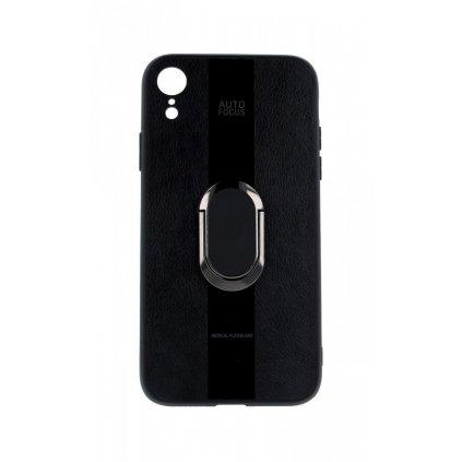 Zadný silikónový kryt Auto Focus na iPhone XR čierny s prsteňom
