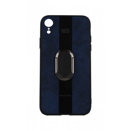 Zadný silikónový kryt Auto Focus na iPhone XR modrý s prsteňom