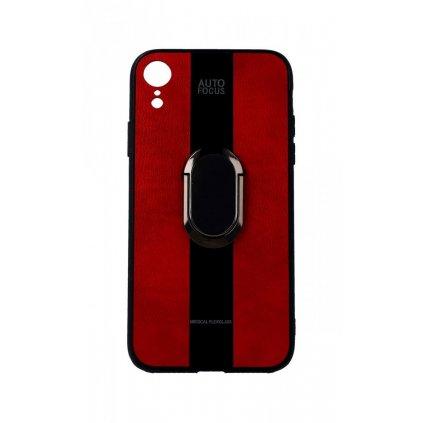 Zadný silikónový kryt Auto Focus na iPhone XR červený s prsteňom