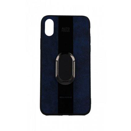 Zadný silikónový kryt Auto Focus na iPhone XS modrý s prsteňom