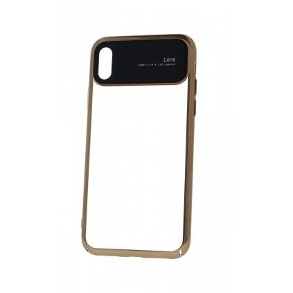 Zadný silikónový kryt na iPhone XS Lens zlatý priehľadný