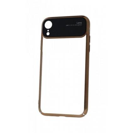 Zadný silikónový kryt na iPhone XR Lens zlatý priehľadný