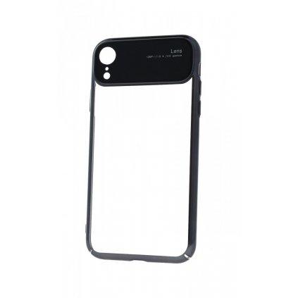 Zadný silikónový kryt na iPhone XR Lens čierny priehľadný