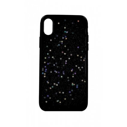 Zadný silikónový kryt na iPhone XS Glitter Star čierny