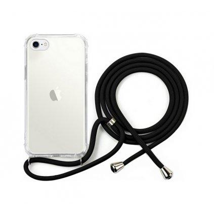 Zadný silikónový kryt na iPhone 8 so šnúrkou priehľadný