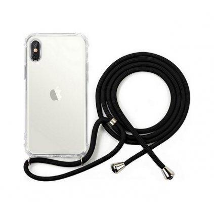 Zadný silikónový kryt na iPhone XS so šnúrkou priehľadný