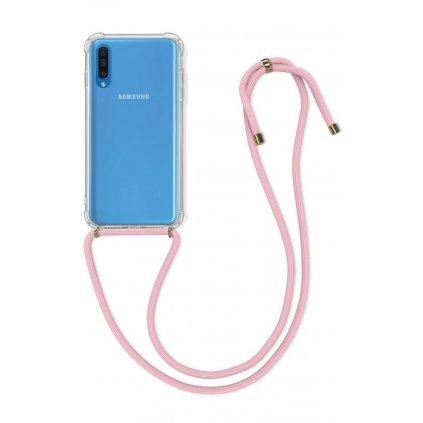 Zadný silikónový kryt na Samsung A50 s ružovou šnúrkou priehľadný