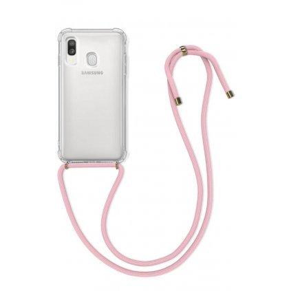 Zadný silikónový kryt na Samsung A40 s ružovou šnúrkou priehľadný