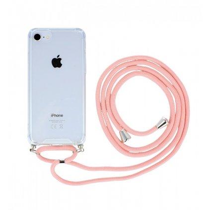 Zadný silikónový kryt na iPhone 8 s ružovou šnúrkou priehľadný