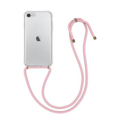 Zadný silikónový kryt na iPhone SE 2020 s ružovou šnúrkou priehľadný