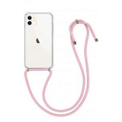 Zadný silikónový kryt na iPhone 11 s ružovou šnúrkou priehľadný