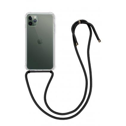 Zadný silikónový kryt na iPhone 11 Pro s čiernou šnúrkou priehľadný