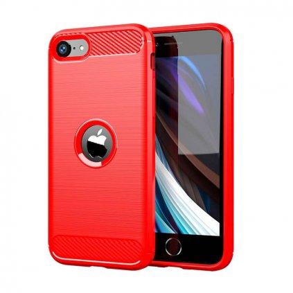 Zadný silikónový kryt na iPhone SE 2020 červený