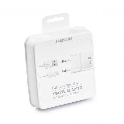 Originálne USB-C (USB type-C) rýchlonabíjačka Samsung EP-TA20EWE vrátane dátového kábla biela 2A (EU Blister)